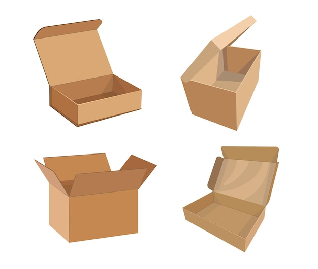 Set of cardboard boxes mockup, cargo parcel packages