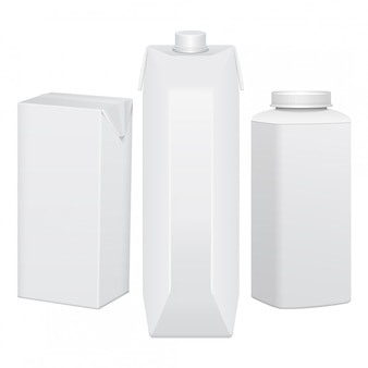Set of cardboard package for beverage, juice, milk or yogurt