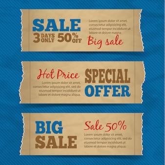 Set di vendita di carta di carta vendita bandiere offerte speciali caldo con illustrazione vettoriale sfondo blu