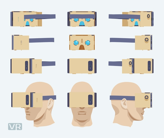 Set of the cardboard virtual reality headsets.