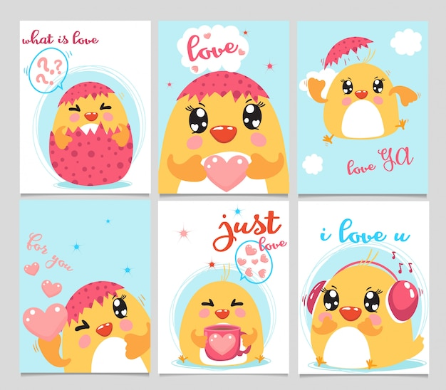 Set of cards baby chick and love.