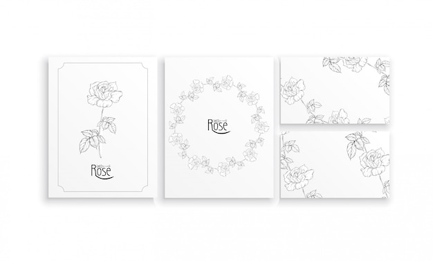 Set of cards and business cards with graphic floral arrangements with flowers of roses