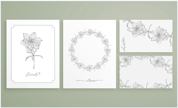 Set of cards and business cards with graphic floral arrangements