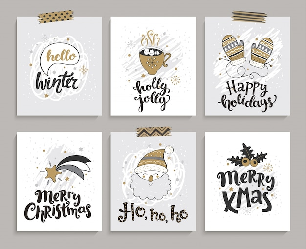 Set of cards for christmas and new year.