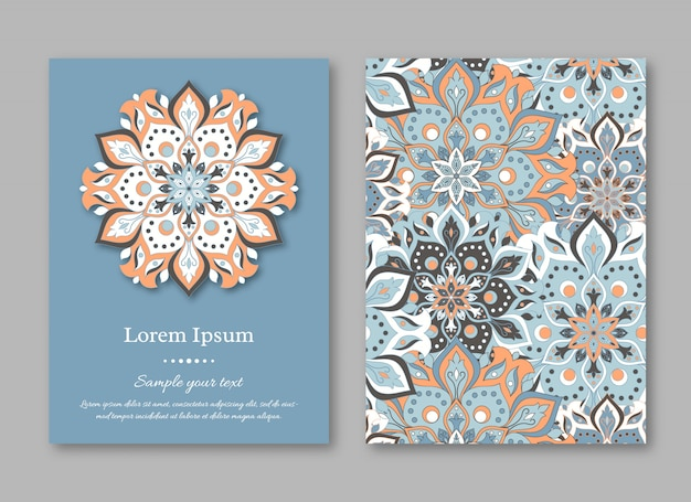 Set of cards, flyers, with mandala.