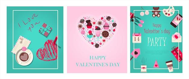 앱 웹 사이트 및 광고에 대한 발렌타인 데이 로맨틱 벡터 일러스트레이션을 위한 카드 설정