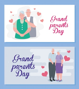 Set cards of happy grand parents day with cute old people illustration design
