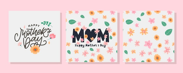 Set cards to the happy mother's day. calligraphy and lettering