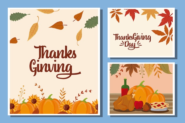 Set of cards of happy thanksgiving