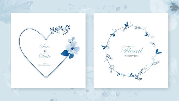 Set of cards heart frame and a wreath decorated with a bouquet flowers of beautiful blue watercolor leaves.