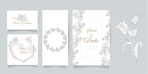 Set of cards and invitations with flowers. spring flowers. tulips.