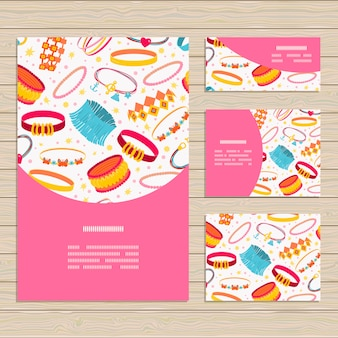 Set of cards on jewelry accessories theme.