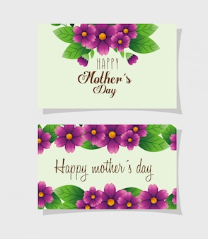 Набор открыток счастливого дня матери с украшением цветами