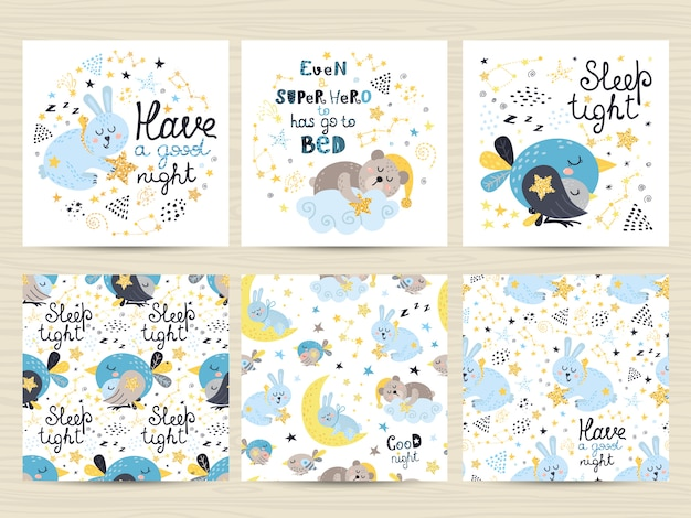 Set of  cards for small boys