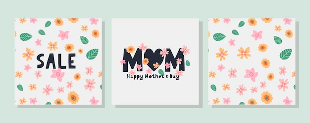해피 어머니의 날 카드를 설정하십시오. 서예와 글자 꽃 패턴