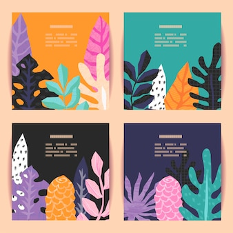 Set of cards on tropical jungle leaves theme.