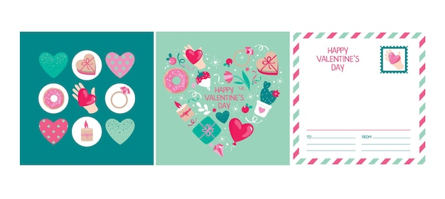 Set of cards for valentine's day with elements: heart, gift, ring, dessert