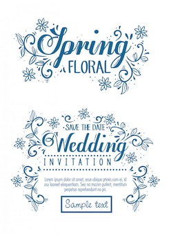 꽃과 나뭇잎 장식 카드, 청첩장 및 봄 꽃 카드 설정