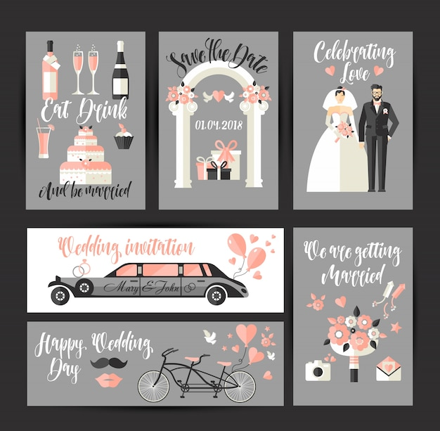 Set of cards for wedding