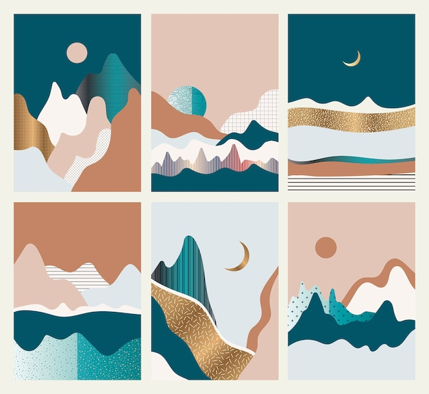 Set of cards with abstract landscapes