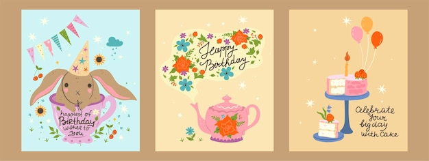 Set of cards with birthday concept