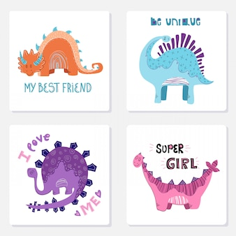 Set of cards with cartoon dino