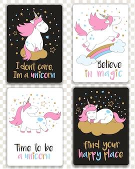 Set of cards with cartoon styled unicorns