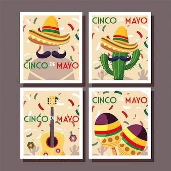 Set of cards with cinco de mayo label