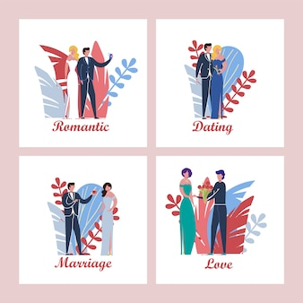 Set of cards with couple scenes