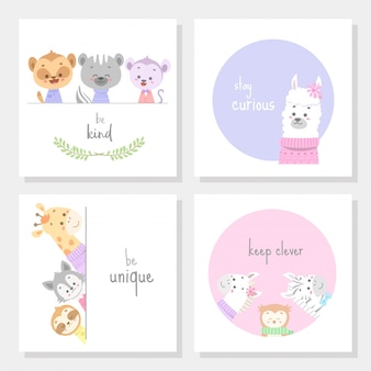 Set of cards with cute animal line art vector illustration