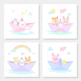 Set of cards with cute animal pastel color vector illustration