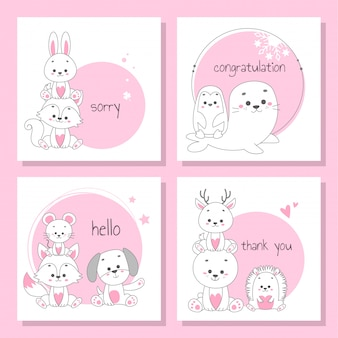 Set of cards with cute animal vector illustration.