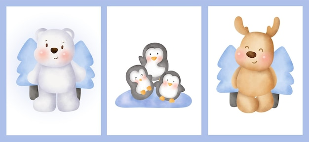 Set of cards with cute arctic animals in watercolor style.