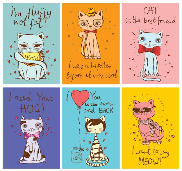 Set of cards with cute cats and hand drawn funny cat texts in cartoon style