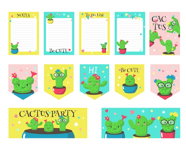 Set of cards with cute funny cactuses and quotes