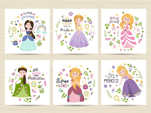 Set of cards with cute princesses