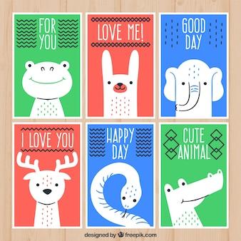 Set di carte con animali selvatici carini