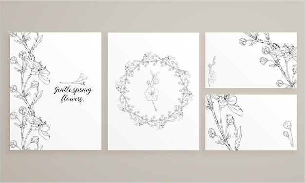 Set of cards with delicate spring flowers