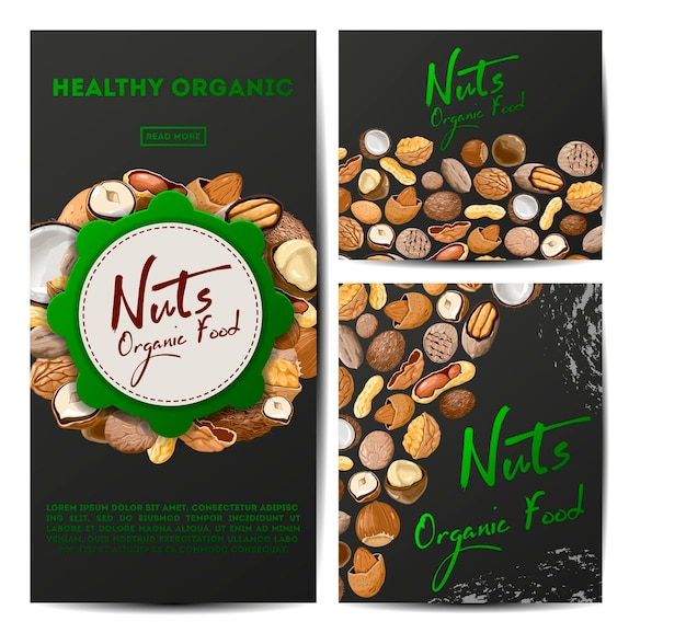 Set of  cards with different types nuts.