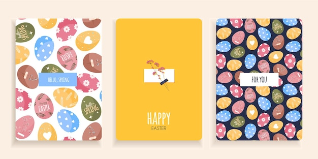 Set of cards with easter eggs in cartoon flat style