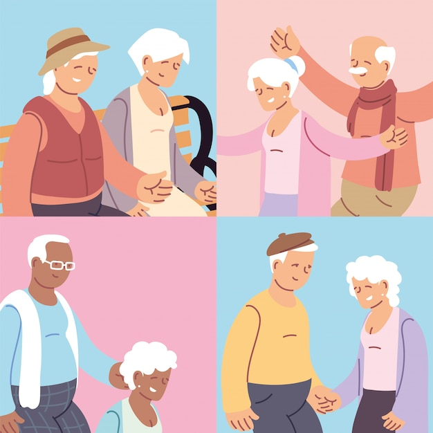 Set of cards with elderly couples, happy grandparents day
