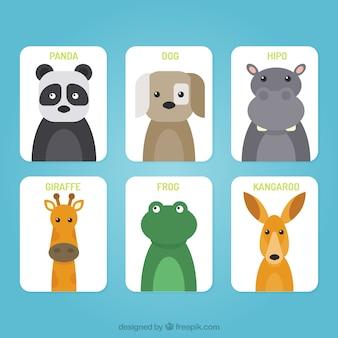 Set di carte con facce animali piatte