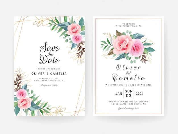 Set of cards with floral decoration. elegant wedding invitation template design of peach rose flowers and gold leaves