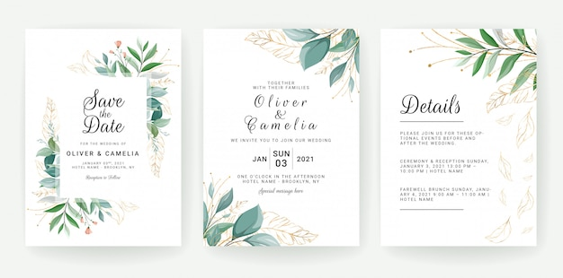 Set of cards with floral decoration. greenery wedding invitation template design of tropical and glitter leaves