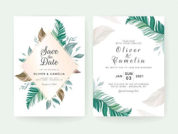 Set of cards with floral decoration. greenery wedding invitation template design of tropical leaves