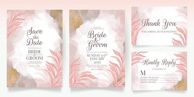 꽃 장식 핑크 청첩장 템플릿 디자인 반짝이 잎 카드 설정