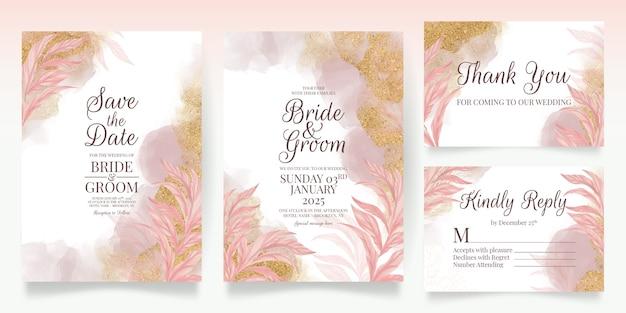 Набор карт с цветочным декором розовые свадебные приглашения шаблон дизайна блестящие листья