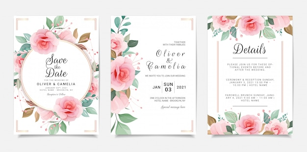 Set of cards with floral frame. wedding invitation card template set with flowers decoration
