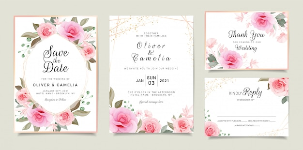 Set of cards with floral. wedding invitation card template set with floral frame