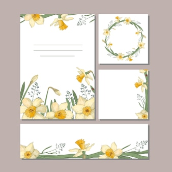 A set of cards with flowers. daffodils, leaves, and twigs for your summer design.